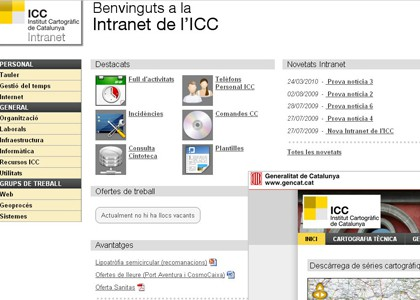 Web corporativa e intranet del ICC